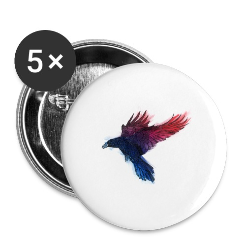 Watercolor Raven - Buttons groß 56 mm (5er Pack)