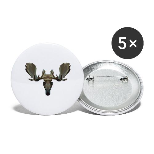Low Poly Moosehead - Buttons groot 56 mm (5-pack)