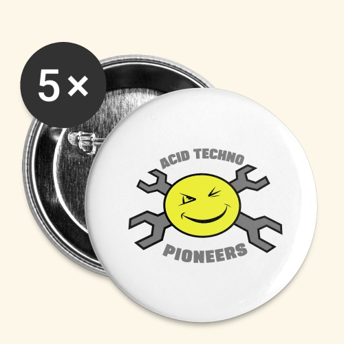 ACID TECHNO PIONEERS - SILVER EDITION - Buttons large 2.2''/56 mm(5-pack)