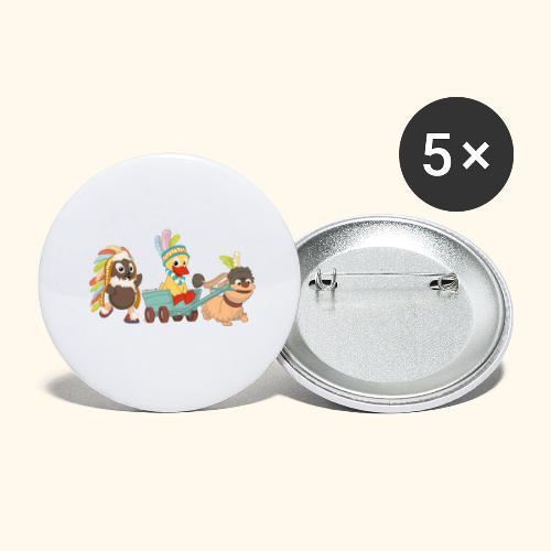 Pittiplatsch Indianerfreunde mit Schnatti & Moppi - Buttons groß 56 mm (5er Pack)