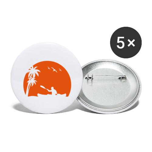 Kanu Kajak paddeln Kanuten Sonne Palmen Sport - Buttons groß 56 mm (5er Pack)
