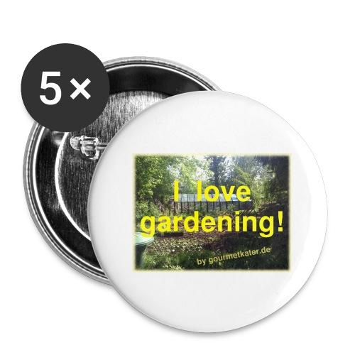I love gardening - Garten - Buttons groß 56 mm (5er Pack)