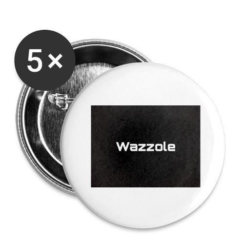 Wazzole plain blk back - Buttons large 2.2''/56 mm(5-pack)