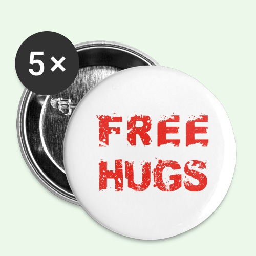 Free Hugs // Flirten // T-Shirt - Buttons groß 56 mm (5er Pack)