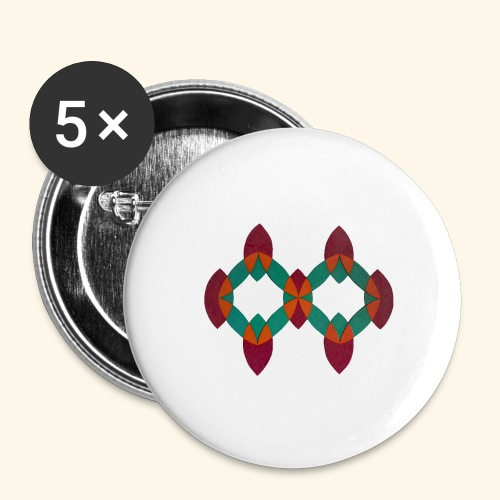 roseoranjegroen - Buttons groot 56 mm (5-pack)