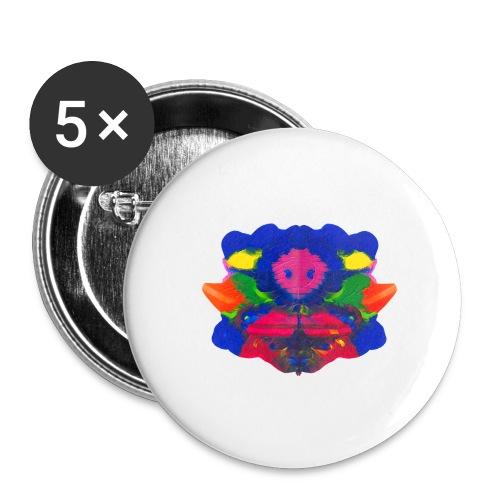 Tintenklecks mit Grusel-Alien in der Mitte - Buttons groß 56 mm (5er Pack)