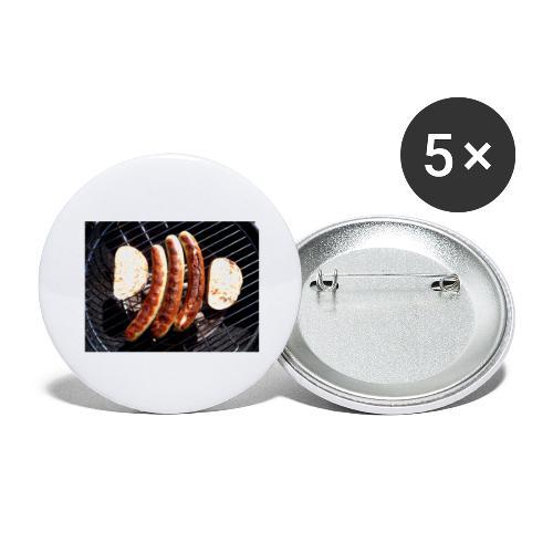 Brat Wurst - Buttons groß 56 mm (5er Pack)