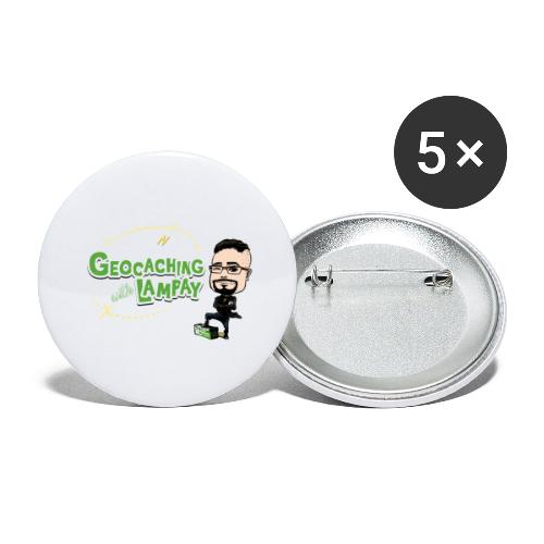 Geocaching With Lampay - Lot de 5 grands badges (56 mm)