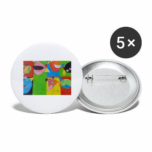 Lovebirds - Liebesvögel - Buttons groß 56 mm (5er Pack)