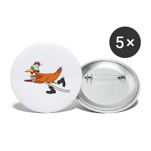 Flori Hahn löscht - Buttons groß 56 mm (5er Pack)