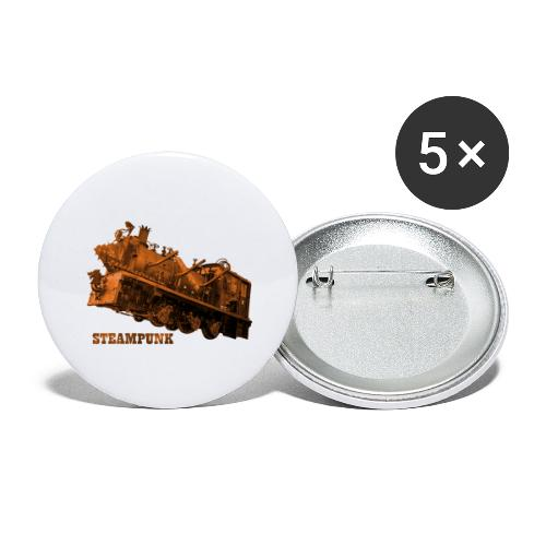 Steampunk Lokomotive Neuseeland - Buttons groß 56 mm (5er Pack)