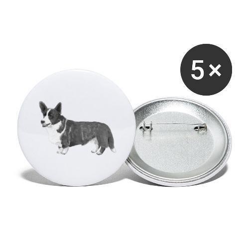 welsh Corgi Cardigan - Buttons/Badges stor, 56 mm (5-pack)