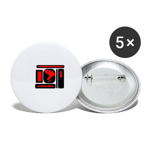 black and red hot P - Buttons groß 56 mm (5er Pack)