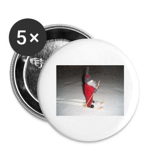 Joulutonttu hiihtämässä - Rintamerkit isot 56 mm (5kpl pakkauksessa)