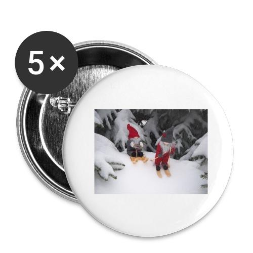 Joulutontut kilpasilla - Rintamerkit isot 56 mm (5kpl pakkauksessa)