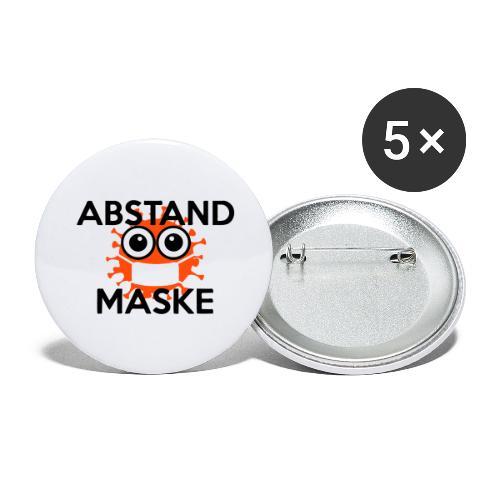 Mit Abstand und Maske gegen CORONA Virus - schwarz - Buttons groß 56 mm (5er Pack)