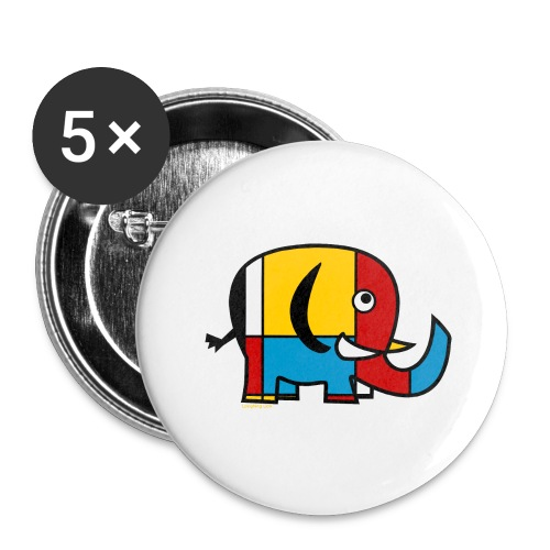 Mondrian Elephant - Buttons large 2.2''/56 mm (5-pack)
