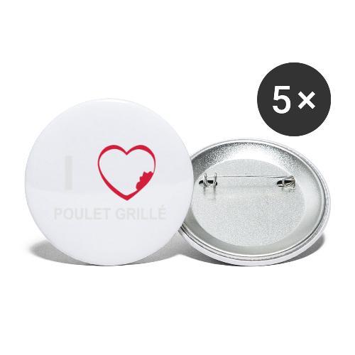 i love POULET GRILLE BlGr - Lot de 5 grands badges (56 mm)