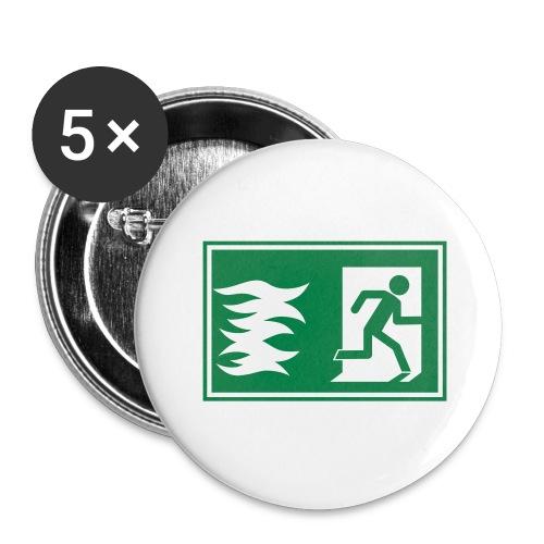 Notausgang / Feueralarm Symbol - Buttons groß 56 mm (5er Pack)