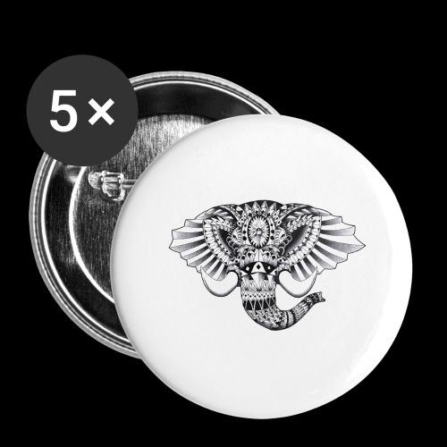 Elephant Ornate Drawing - Confezione da 5 spille grandi (56 mm)