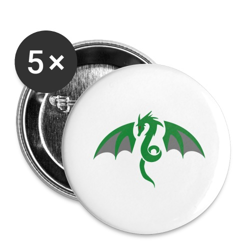 Red eyed green dragon - Buttons groot 56 mm (5-pack)