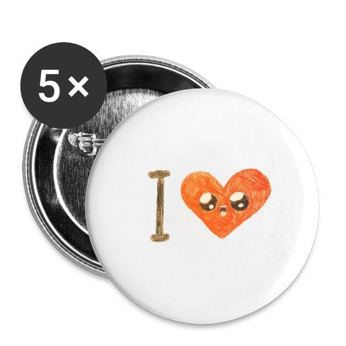 Kids for Kids: heart - Buttons groß 56 mm (5er Pack)