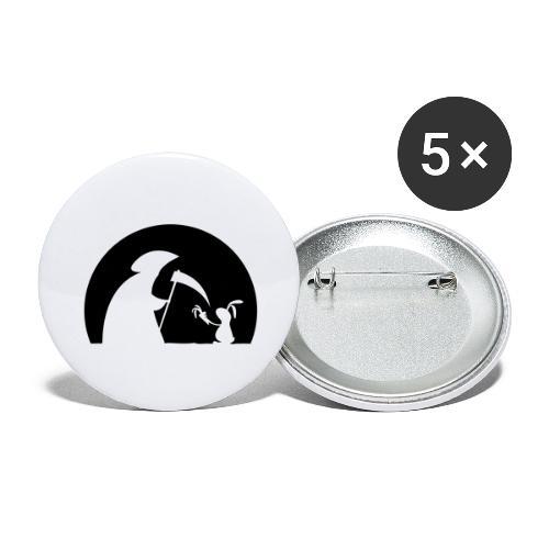 Hase Kaninchen Möhre Tod Sensenmann Karotte bunny - Buttons groß 56 mm (5er Pack)