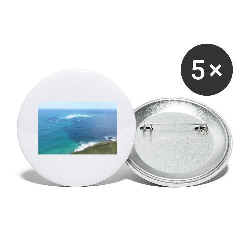 Pazifik türkis blau Natur - Cape Reinga Neuseeland - Buttons groß 56 mm (5er Pack)
