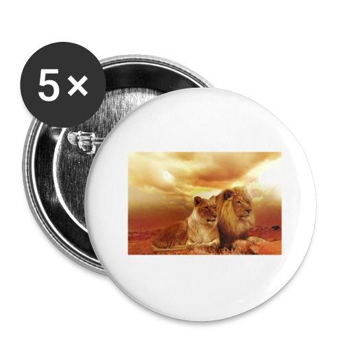 Löwen Lions - Buttons groß 56 mm (5er Pack)