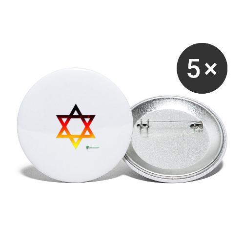 deutschland davidstern transparent - Buttons groß 56 mm (5er Pack)