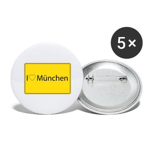 I love München - Buttons groß 56 mm (5er Pack)