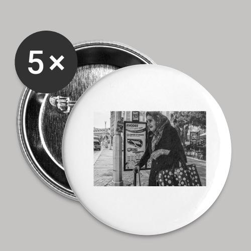 Alte Dame - Buttons groß 56 mm (5er Pack)