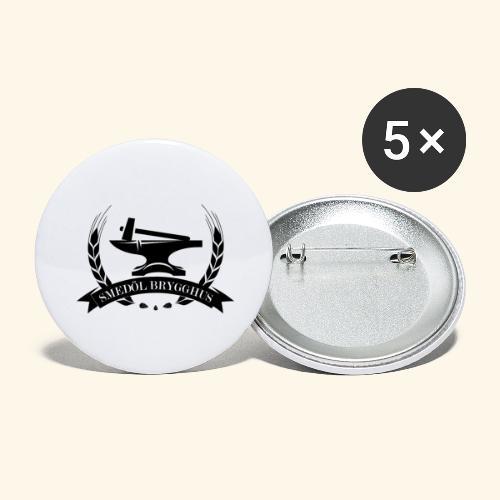 Smedöl Brygghus Logga Svart - Stora knappar 56 mm (5-pack)