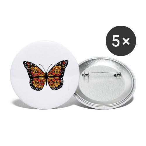 Papillon - Lot de 5 grands badges (56 mm)