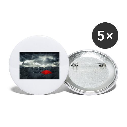 Der rote Regenschirm - Buttons groß 56 mm (5er Pack)