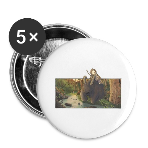 Orso e bambina - Wandering Claw - Confezione da 5 spille grandi (56 mm)