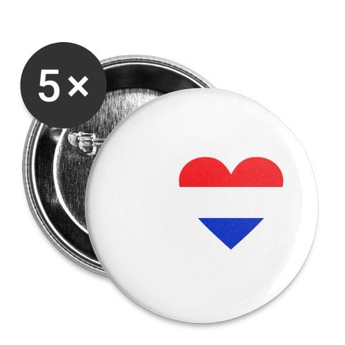 Ik hou van Nederland | Hart met rood wit blauw - Buttons groot 56 mm (5-pack)