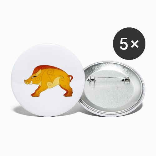 Sanglier Gaulois - Lot de 5 grands badges (56 mm)