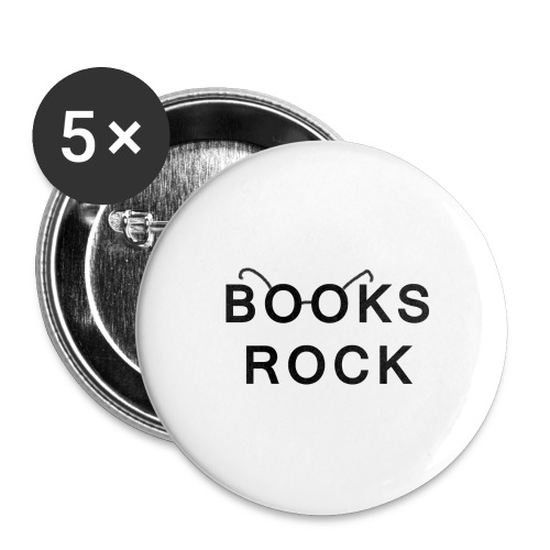 Books Rock Black - Buttons large 2.2''/56 mm(5-pack)