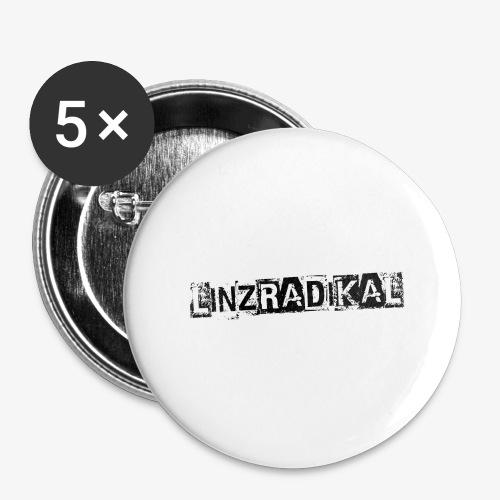 Linzradikal schwarz - Buttons groß 56 mm (5er Pack)