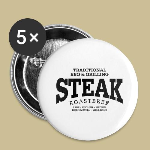 Steak (black) - Buttons groß 56 mm (5er Pack)