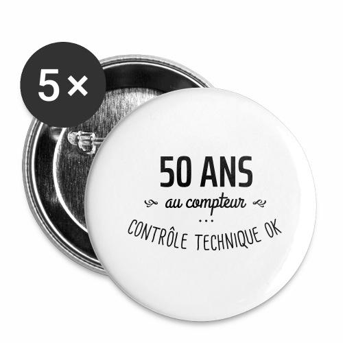 50 ans au compteur - Lot de 5 grands badges (56 mm)