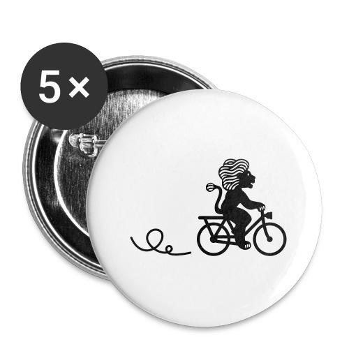 Züri-Leu beim Velofahren ohne Text - Buttons groß 56 mm (5er Pack)