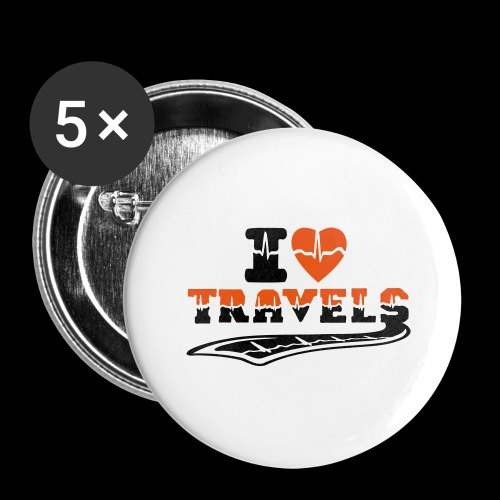 i love travels surprises 2 col - Buttons large 2.2''/56 mm (5-pack)