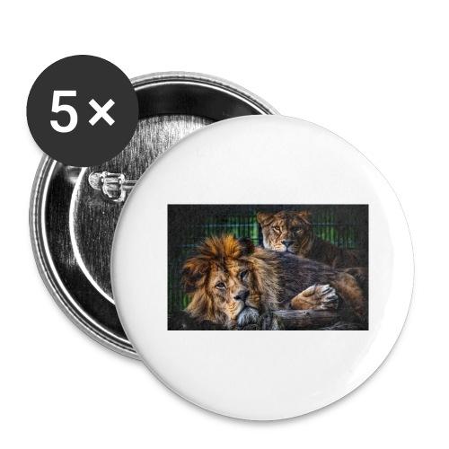 Löwen - Buttons groß 56 mm (5er Pack)