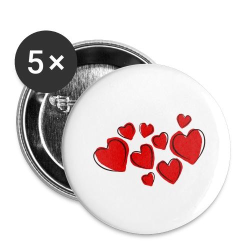 hearts herzen - Buttons groß 56 mm (5er Pack)