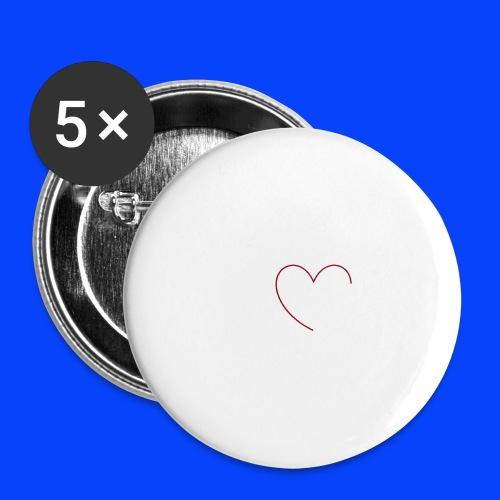 t-shirt bianca con cuore - Confezione da 5 spille grandi (56 mm)