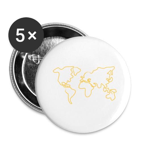 Wereldkaart - Buttons groot 56 mm (5-pack)