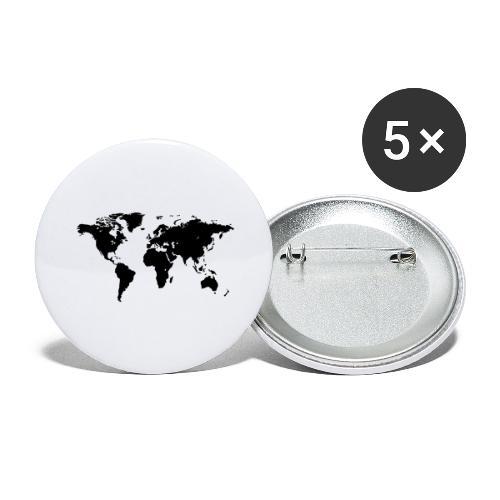 World Map - Buttons groß 56 mm (5er Pack)