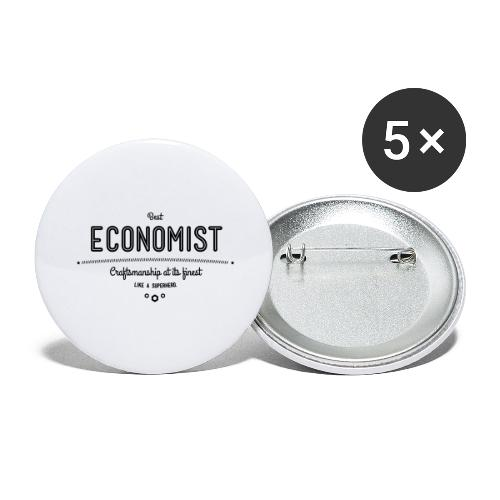 Bester Ökonom - wie ein Superheld - Buttons groß 56 mm (5er Pack)